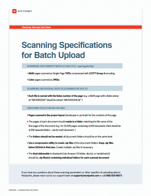Scanning specifications